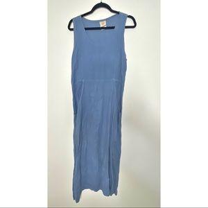 Vintage Blue Linen Jumper Maxi Dress